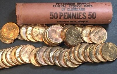 1942-P ~Extremely Rare! Gem Bu Bank Roll Lincoln Wheat Cents 1C Obw 50~ 1942 Unc