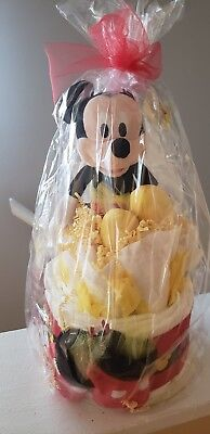 "Baby Diaper Cake Gift (Mickey Mouse Theme) 14"" tall 18 Pampers size 1 Diapers"