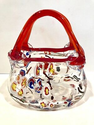 Hand Blown Murano Glass Vase Purse Clear Red Handle Multi Color Flowers estate