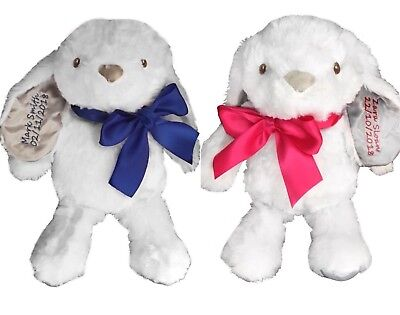 Personalised embroidered teddy bears bunny new baby christening Birthday gift
