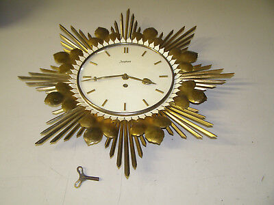 Junghans Antique Wall clock. Time only. Art Deco hammered metal German runs well