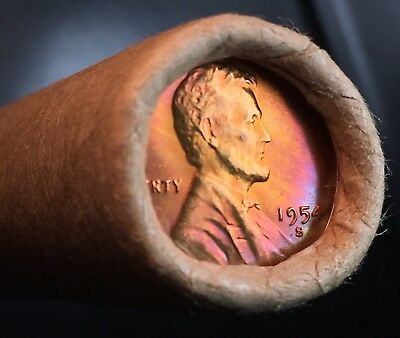 1954-S Mint Gem -Bu- Sealed San Francisco Roll Toned Lincoln Wheat Cent Pennies
