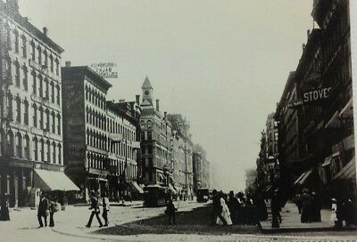 Rare! 1880 Street Scenes, Stores, Signs Chicago Old Vintage Postcard A4