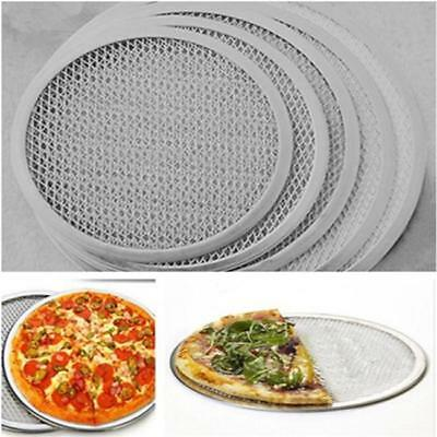 Seamless Aluminum Pizza Screen Mesh Oven Baking Tray Round Pizza Plates N7