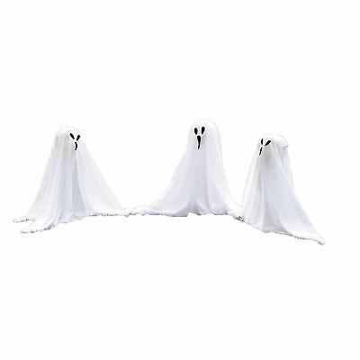 """Forum Small Ghostly Group Light Up Decoration 7pc 19"""" Outdoor Prop, White Black"""