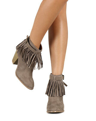 7b96eb1f0b3 New Women Qupid Salty-21 Suede Pointy Toe Fringe Chunky Heel Riding Bootie