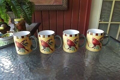 New Lenox Winter Greetings Everyday Cardinal Set Of 4 Mugs