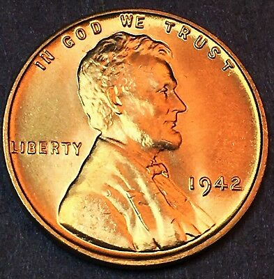 """1942-P Lincoln Wheat 1C/""""STUNNING-BRIGHT-CLEAR/""""CHOICE BU//RD from OBW roll.99cS/&H+"""