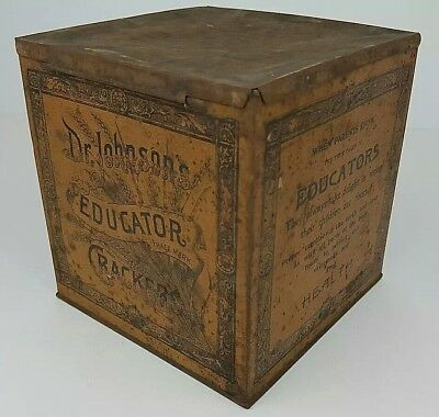 Antique Dr Johnsons Educator Crackers Square Metal Tin Container Old Distressed
