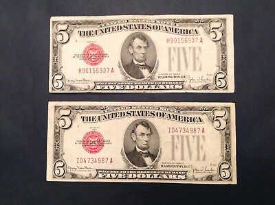 Lot of 2 1928 $5 F Five Dollar Red Seal US Notes