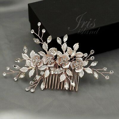 Bridal Hair Comb Crystal Headpiece Hair Clip Wedding Accessory 04102 ROSE GOLD