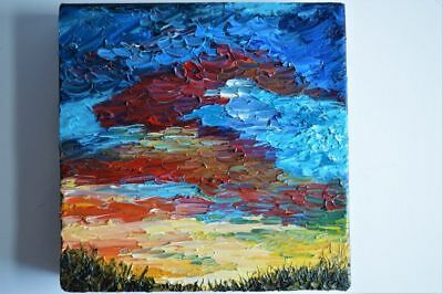 Original Abstract Painting  - Contemporary - Sunset - Oil On Deep Edge Canvas