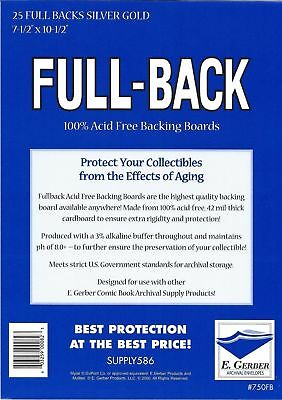 25 Full Back SILVER/ GOLD 42pt Acid Free Comic Backing Boards 750FB by E. Gerber