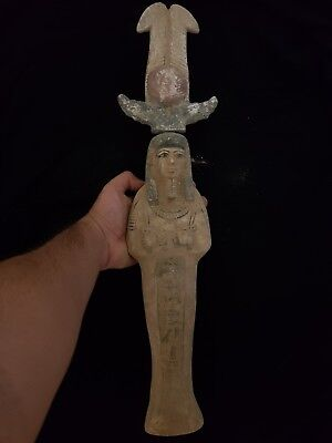 Ancient Egyptian Antiques Unique Wood USHABTI With Winged Scarab Rare Shabti BC