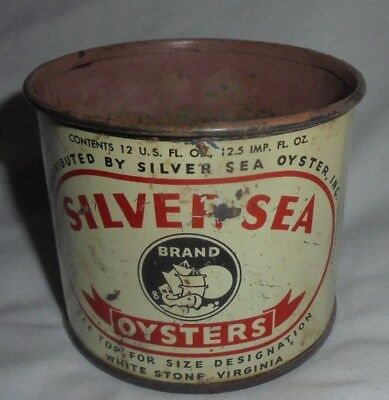 Vintage Silver Sea oysters tin 12 ounce size #2