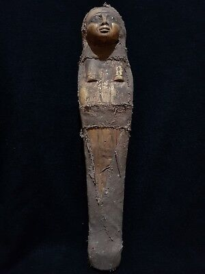 Ancient Egyptian Antique Ushabti (Shabti) wrapped in linen STATUE EGYPT STONE BC