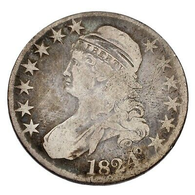 1824 50C Bust Half Dollar Good Condition, Natural Color, Small Scratches Obv.