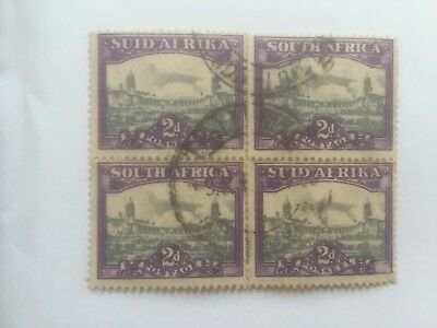 SOUTH AFRICA  1945 2d block of 4 used stamps