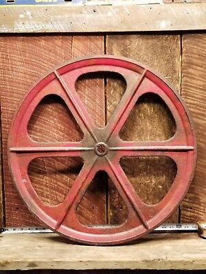 "Vintage Industrial Gear LARGE 24"" Cast Iron Pulley Steel Wheel Steampunk Gear"