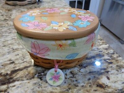 Longaberger 2008 Mothers Day Basket Combo Floral Wood Lid And Tie On