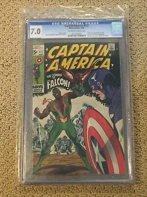 Captain America 117 CGC 7.0 OW/White Pages (1st app of Falcon from 1969!!)