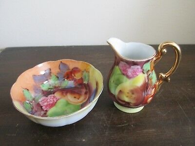 Vintage Japanese Porcelain Hand Painted Creamer And Sugar Bowl Orchard Fruits
