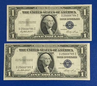 1935E $1 Blue Choice VF SILVER Certificates Consecutives SEt of 2! X784 Currency