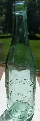 Aqua Pint Geo George Gunther Brewing Co embossed beer bottle Baltimore MD