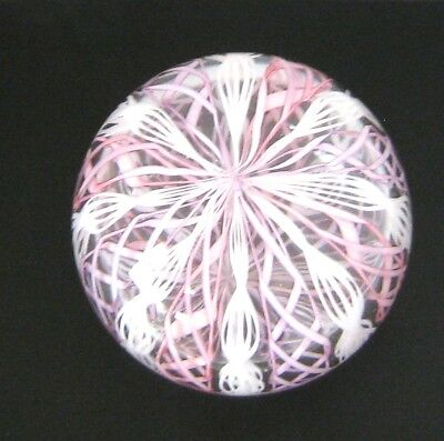 Murano Art Glass Vintage Latticino Pink & White Ribbon Paperweight Made in Italy