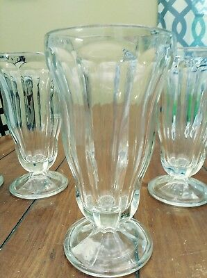 4 Vintage Antique Soda Fountain Shake Malt Glasses Heavy Glass Footed EUC