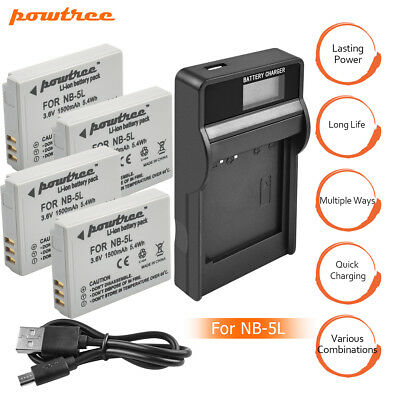 NB-5L NB5L Battery+Charger For Canon Powershot S100 SX200 SX210 IS SX230Powtree