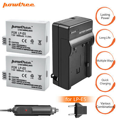 2PCS LP-E5 LPE5 CameraBattery+Charger For Canon 450D 500D 1000D Kiss Digital X2