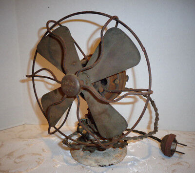 """Polar Cub 6"""" Brass Blade Electric Fan By AC Gilbert New York Type G Parts or Rep"""