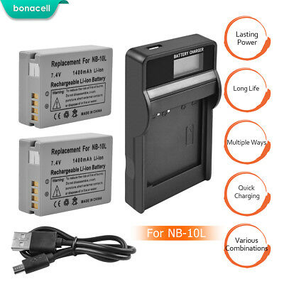 NB-10L NB10L Battery+LCD Dual Charger For Canon G1X G15 G16 SX40HS SX50HS SX60EG
