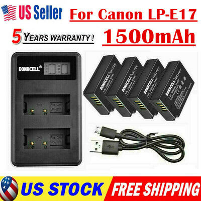 LP-E17 Battery+LCD USB Dual Charger For Canon EOS 200D M3 M6 750D 760D T6i 800D