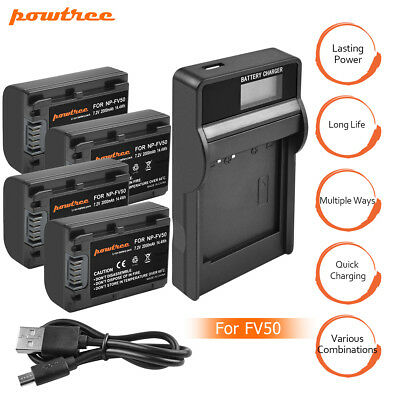 NP-FV50 Battery+Charger For Sony Handycam DCR-SR68 SR88 SX44 SX63 SX65 Powtree E