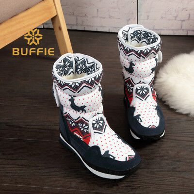 Women Winter Snow Warm Boots Shoes Mid Calf Ankle Flat Heel Nylon 10inch Shaft