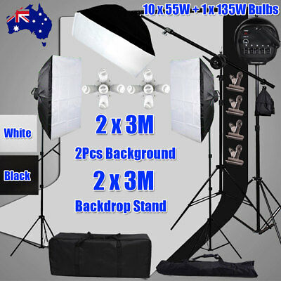 3425W Photography Softbox Continuous Lighting Boom Light 2x3m Backdrop Stand Kit