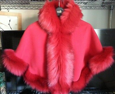 Red Kids Girls Fluffy Faux Fur Hooded Winter Cape Coat Poncho Size M 5-7 Yrs New