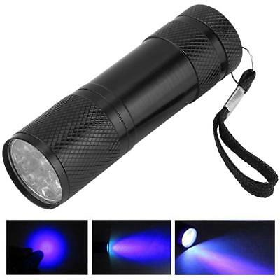 Mini Aluminum UV Ultra Violet 9 LED Flashlight Blacklight Torch Money Light Lamp