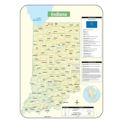 Indiana Shaded Relief Map by Universal Map  - Indiana Shaded Relief Map