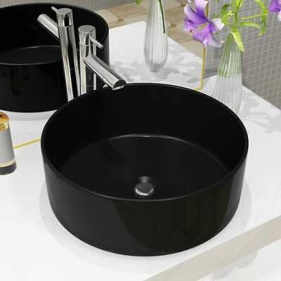 vidaXL Basin Ceramic Round Black 40x15cm Bathroom Cloakroom Countertop Sink