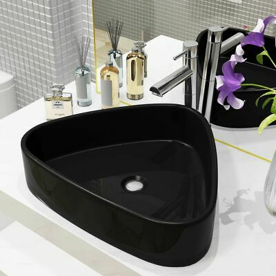 vidaXL Basin Ceramic Triangle Black 50.5x41x12cm Bathroom Countertop Sink