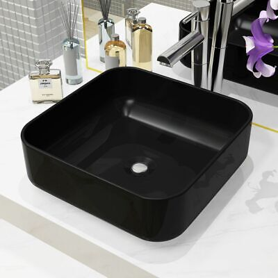 vidaXL Basin Ceramic Square Black 38x38x13.5cm Bathroom Countertop Wash Sink
