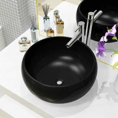 vidaXL Basin Ceramic Round Black 40x16cm Bathroom Cloakroom Countertop Sink