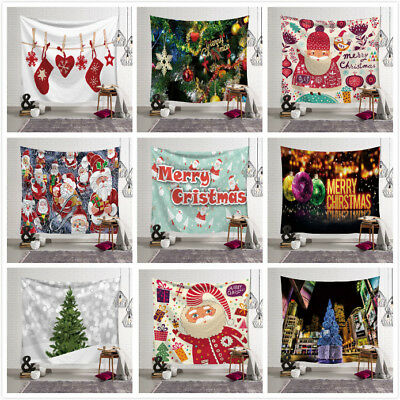 Hot Xmas Art Home Wall Hanging Tapestry Christmas Festival Bedspread Wall Decor