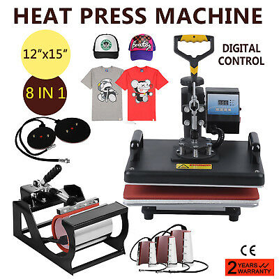 8In1 T-Shirt Heat Press Machine Mug Hat Cup Transfer Sublimation Clamshell Qn
