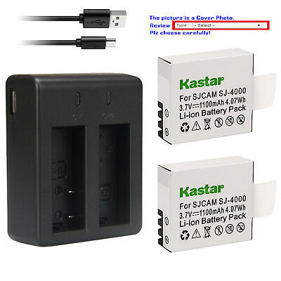 Kastar Battery Dual USB Charger for SJCAM SJ4000B SJ4000 & SJCAM SJ9000 Camera