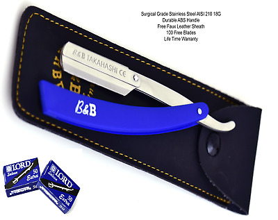 100 Blades Classic Barber Straight Razor Cut Throat Abs Handle Salon Lord