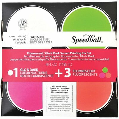 Speedball Glo n' Dark & Fluorescent Screen Printing 4 Ink Set